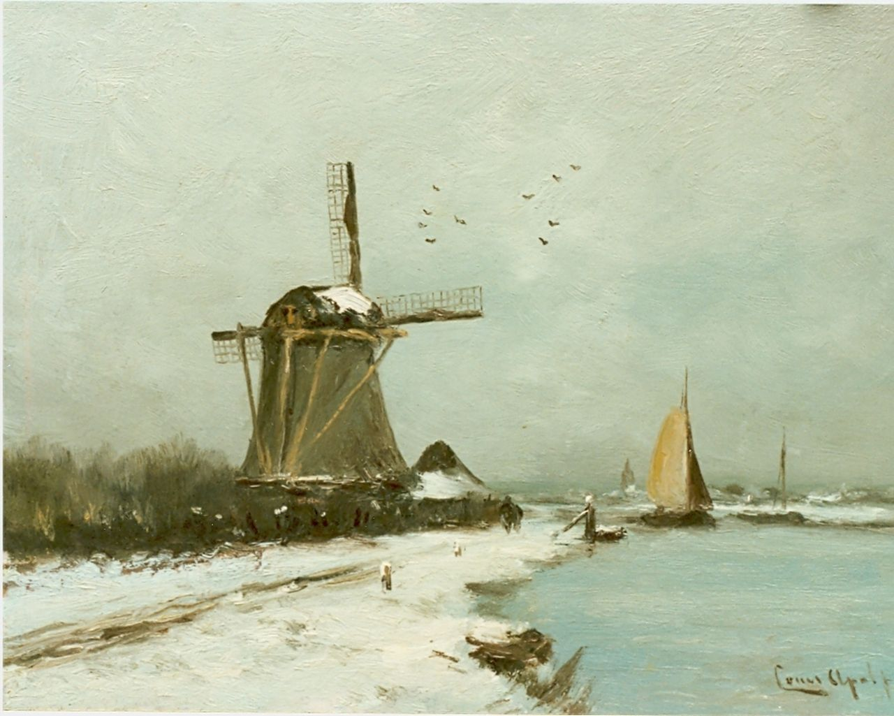 Apol L.F.H.  | Lodewijk Franciscus Hendrik 'Louis' Apol, A snow-covered polder landscape, oil on panel 27.7 x 36.1 cm, signed l.r.