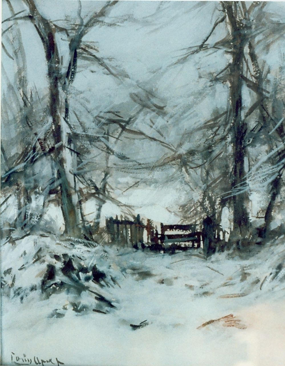 Apol L.F.H.  | Lodewijk Franciscus Hendrik 'Louis' Apol, A snow-covered landscape, watercolour on paper