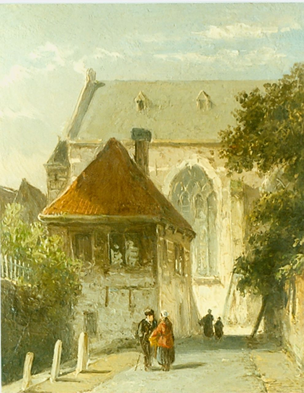 Eversen A.  | Adrianus Eversen, Figures in a street, with a church beyond, oil on panel 12.9 x 10.9 cm, signed l.l.