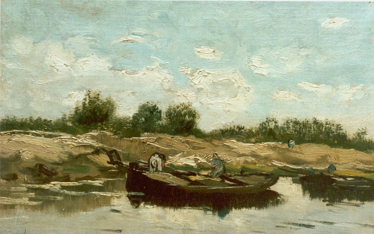 Gabriel P.J.C.  | Paul Joseph Constantin 'Constan(t)' Gabriel, River landscape, oil on canvas laid down on panel 22.0 x 35.5 cm