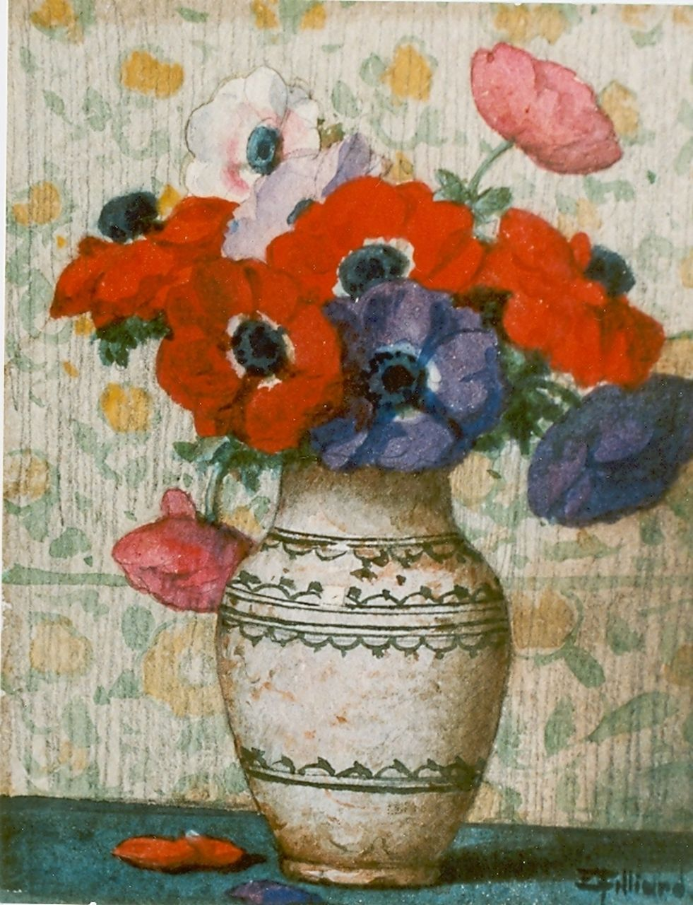 Filliard E.  | Ernest Filliard, Anemones in a vase, watercolour on paper 15.5 x 12.5 cm, signed l.r.