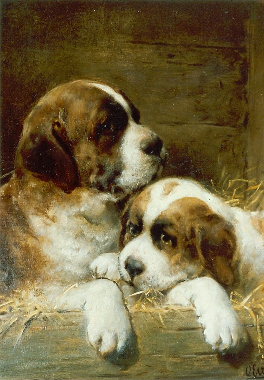 Eerelman O.  | Otto Eerelman, St.Bernhard puppies, oil on canvas 45.5 x 35.5 cm, signed l.r.