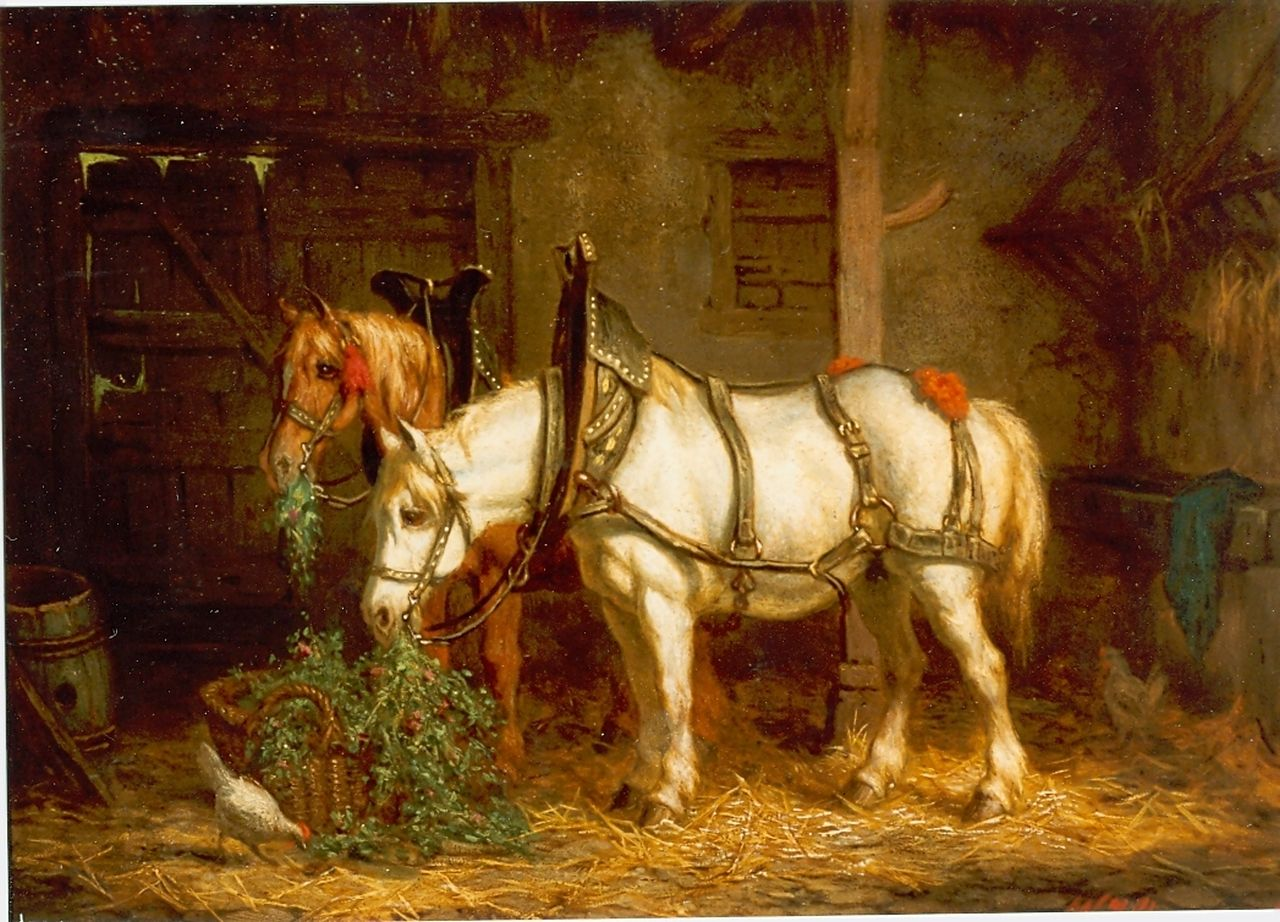 Boogaard W.J.  | Willem Johan Boogaard, A stable interior with horses, oil on panel 19.8 x 26.9 cm, signed l.r.
