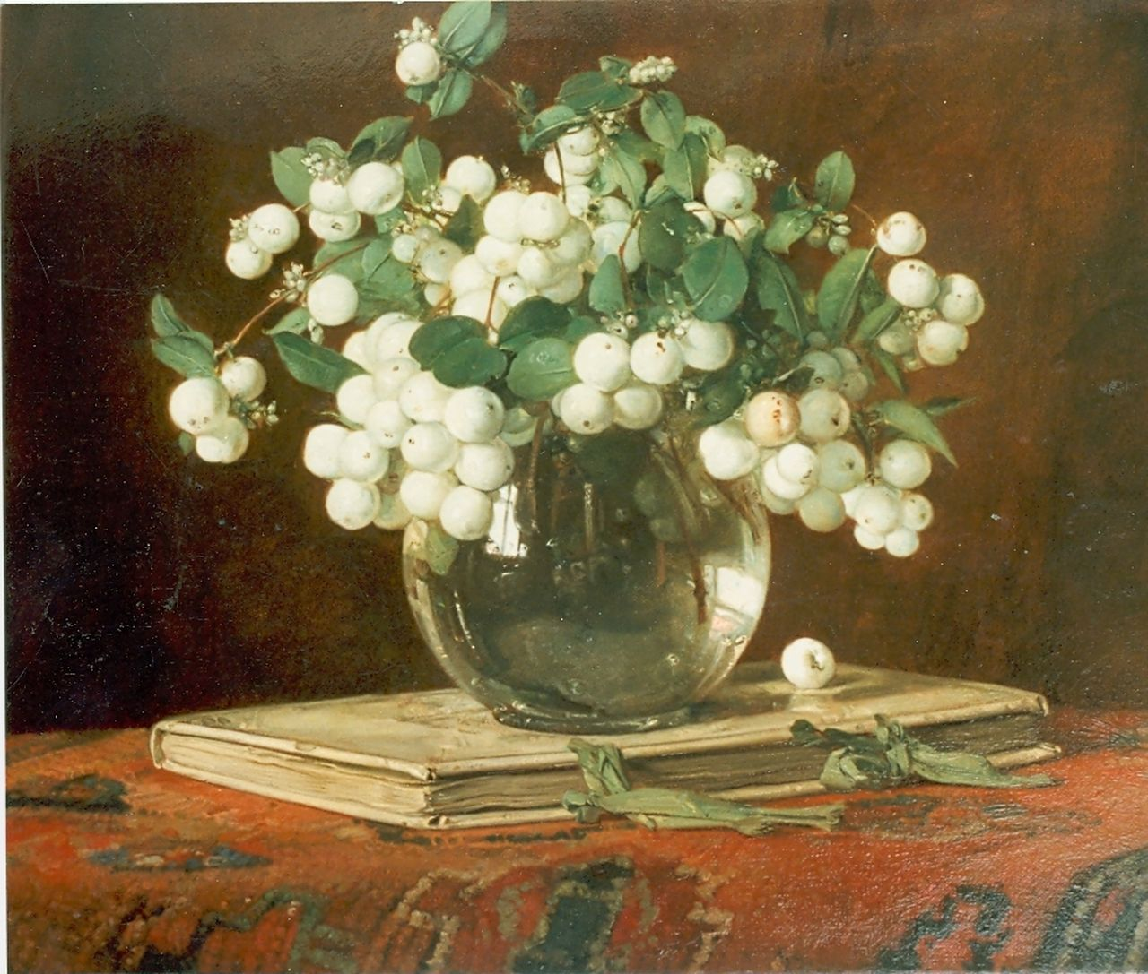 Bogaerts J.J.M.  | Johannes Jacobus Maria 'Jan' Bogaerts, Snow-berries in a vase, oil on canvas 35.0 x 40.5 cm, signed u.r. and dated 1934