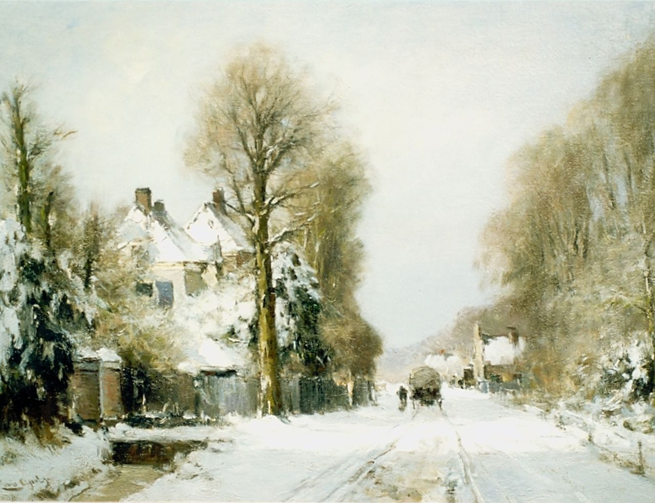 Apol L.F.H.  | Lodewijk Franciscus Hendrik 'Louis' Apol, View of the Rijksstraatweg in winter, The Hague, oil on canvas 55.0 x 76.5 cm, signed l.l.