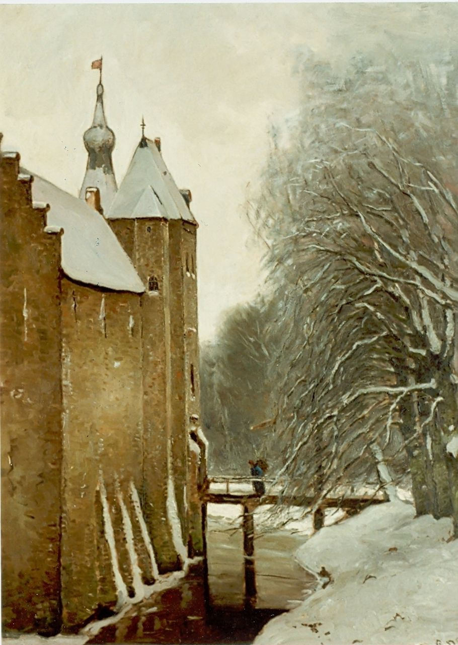 Apol L.F.H.  | Lodewijk Franciscus Hendrik 'Louis' Apol, The castle of Doorwerth in winter, oil on canvas 107.6 x 80.5 cm, signed l.r.