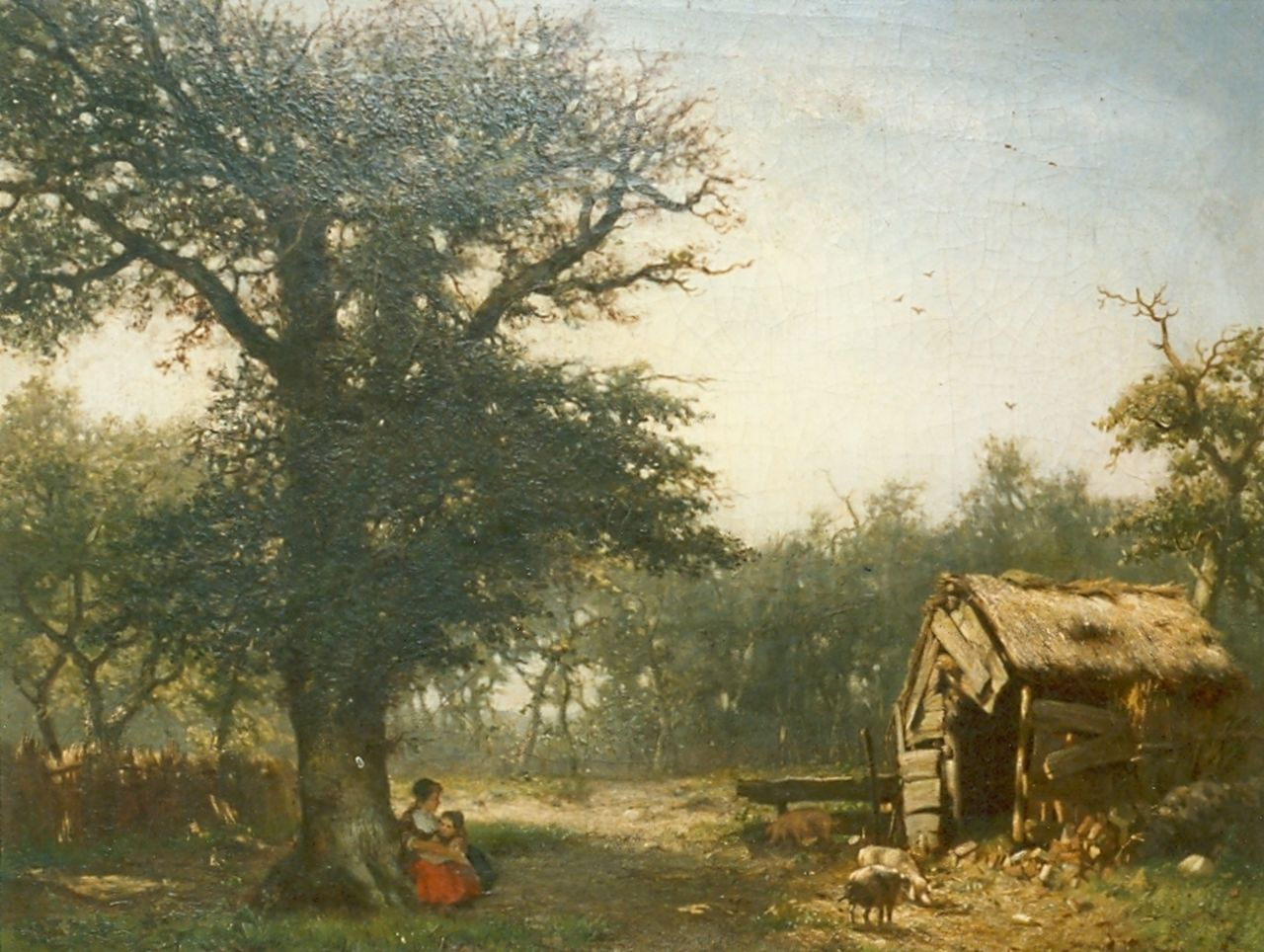 Apol L.F.H.  | Lodewijk Franciscus Hendrik 'Louis' Apol, Mother and child in a landscape, oil on panel, signed l.l.