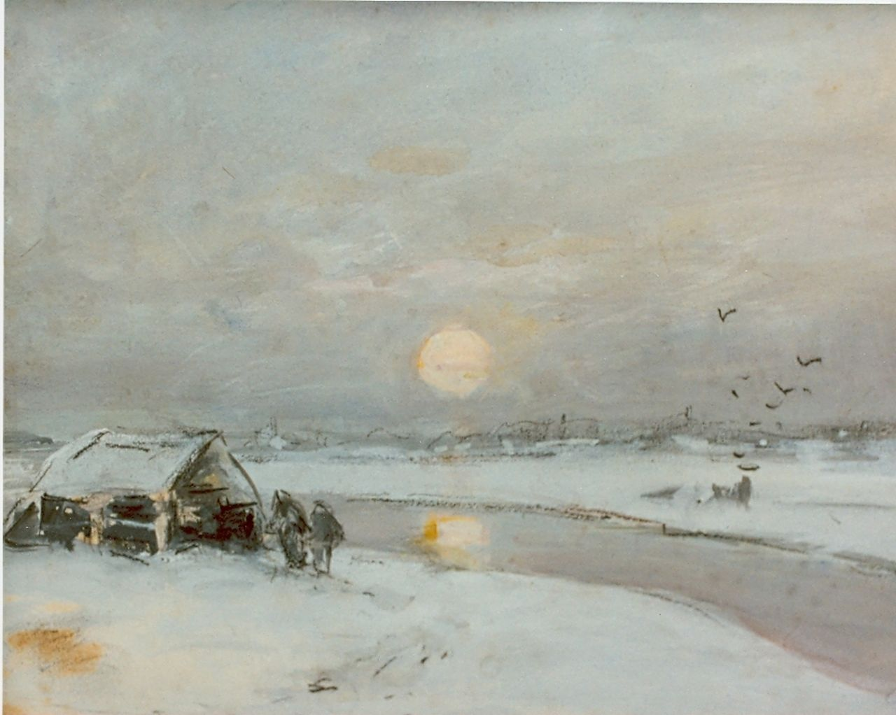 Apol L.F.H.  | Lodewijk Franciscus Hendrik 'Louis' Apol, Frozen canal at sunset, watercolour on paper 16.5 x 21.0 cm, signed l.l.