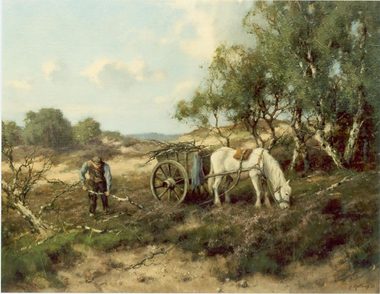Holtrup J.  | Jan Holtrup, Woodgatherer in landscape, oil on canvas 40.0 x 50.0 cm, signed l.r. and executed '51