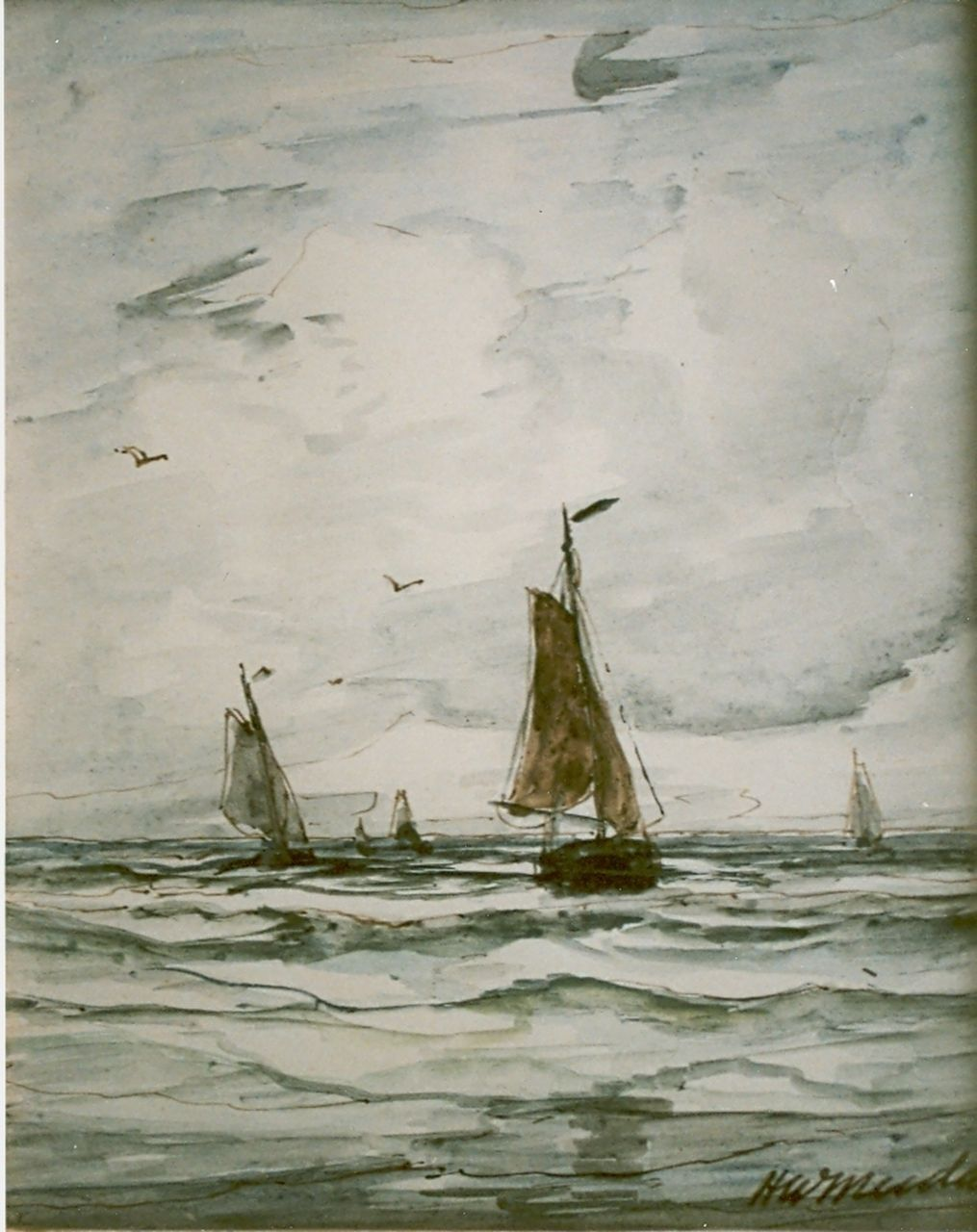 Mesdag H.W.  | Hendrik Willem Mesdag, Sailing vessels in full sail, watercolour on paper 17.8 x 14.6 cm, signed l.r.