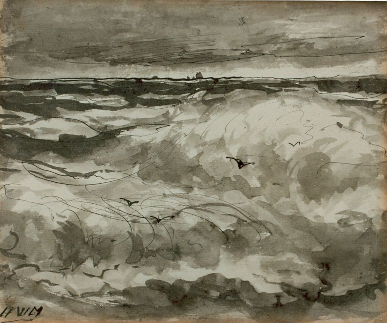 Mesdag H.W.  | Hendrik Willem Mesdag, Seascape, pen and ink on paper 15.7 x 18.8 cm, signed l.l. with monogram