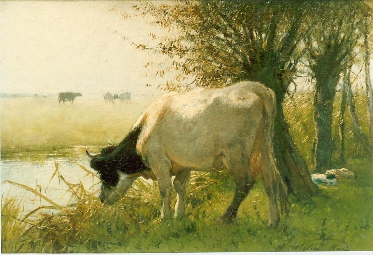 Maris W.  | Willem Maris, Watering cow, oil on panel 17.5 x 25.7 cm, signed l.r.