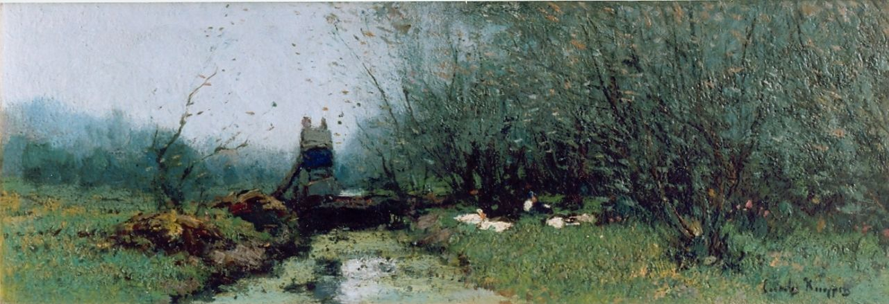 Kuijpers C.  | Cornelis Kuijpers, Ducks in a meadow, oil on canvas 16.0 x 47.0 cm, signed l.r.