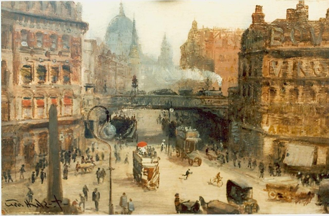 Hyde-Pownall G.  | George Hyde-Pownall, 'Ludgate Circus', oil on panel 15.2 x 23.5 cm, signed l.l.
