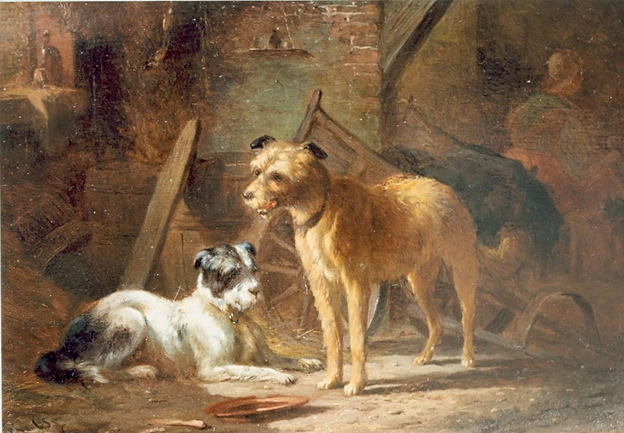 Os P.F. van | Pieter Frederik van Os, Two dogs, oil on panel 18.9 x 27.0 cm, signed l.l.