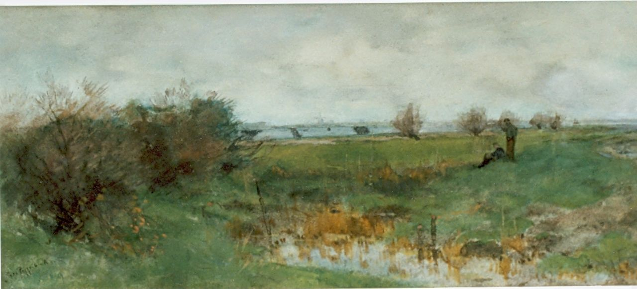 Poggenbeek G.J.H.  | George Jan Hendrik 'Geo' Poggenbeek, Polder landscape, watercolour on paper 20.5 x 48.0 cm, signed l.l.