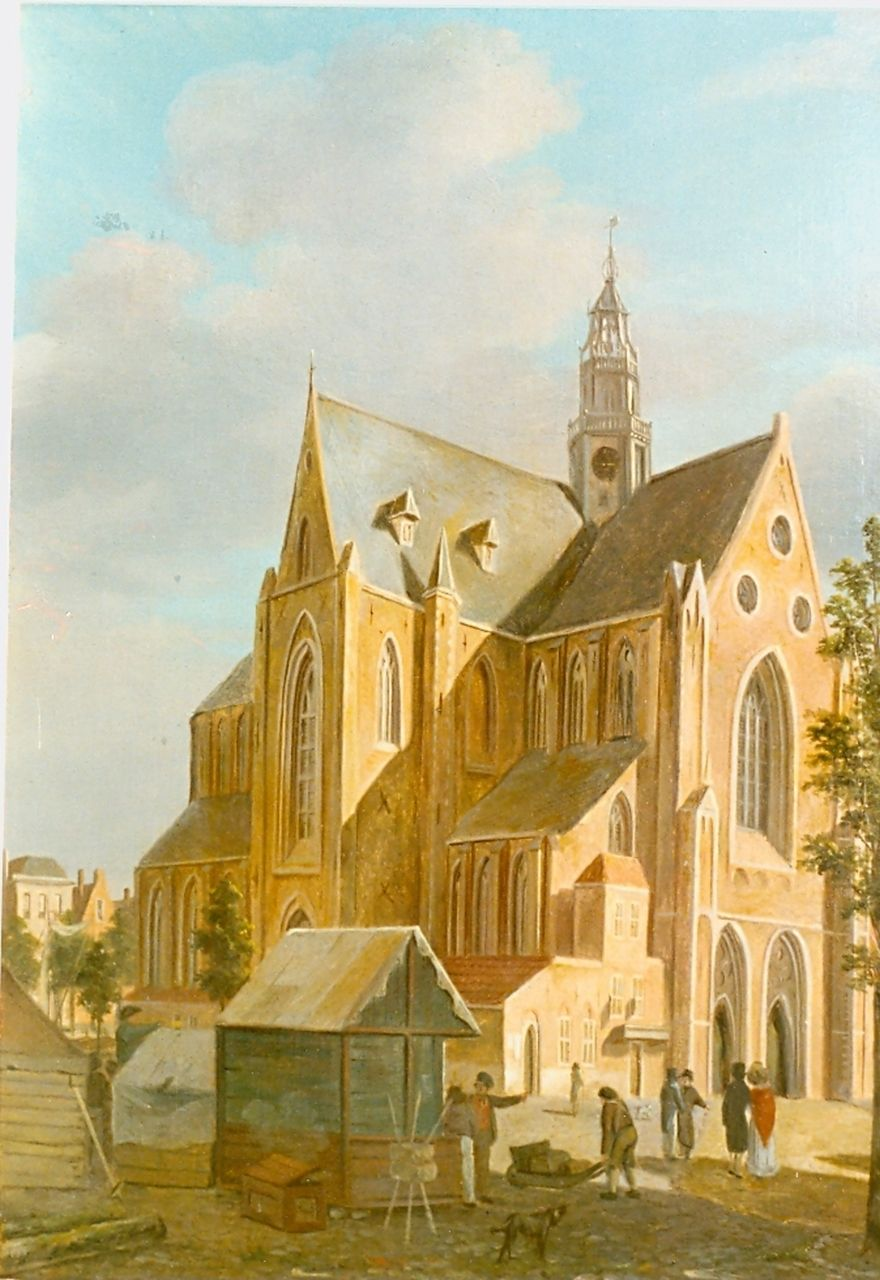 Hove B.J. van | Bartholomeus Johannes 'Bart' van Hove, A view of the St. Bavo Church, Haarlem, oil on panel 29.1 x 22.7 cm