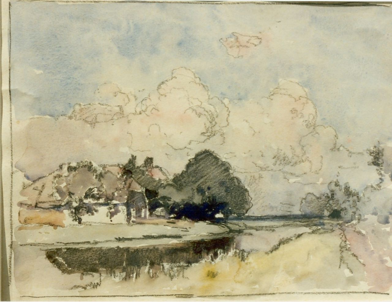 Vreedenburgh C.  | Cornelis Vreedenburgh, A farm along a canal, watercolour on paper 21.0 x 27.5 cm