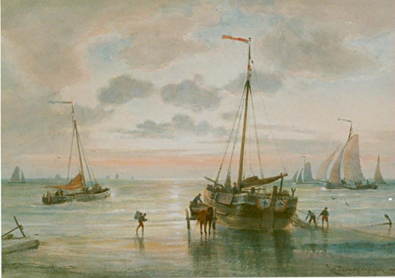 Dommelshuizen C.C.  | Cornelis Christiaan Dommelshuizen, Fishing boats on the beach, watercolour on paper 28.1 x 39.0 cm, signed l.r. and dated 1905