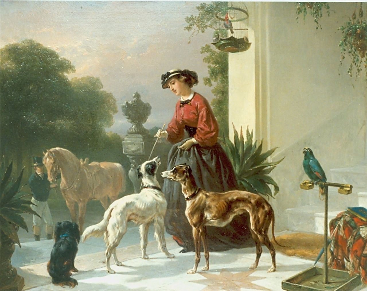 Verschuur W.  | Wouterus Verschuur, Amazone, oil on panel 34.0 x 44.2 cm, signed l.r.