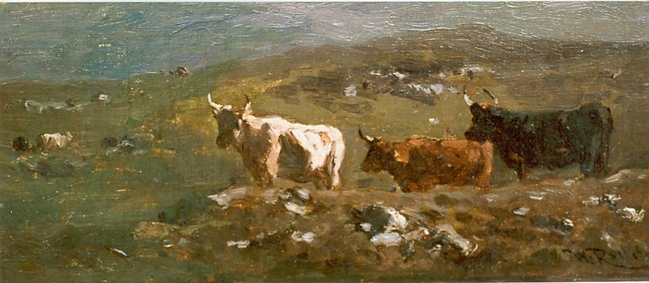 Roelofs W.  | Willem Roelofs, Mountainous landscape with cows, oil on canvas laid down on panel 12.0 x 26.3 cm, signed l.r.