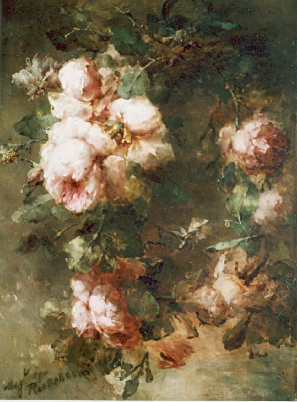 Roosenboom M.C.J.W.H.  | 'Margaretha' Cornelia Johanna Wilhelmina Henriëtta Roosenboom, Pink roses, oil on canvas 68.0 x 48.5 cm, signed l.l. and dated '90