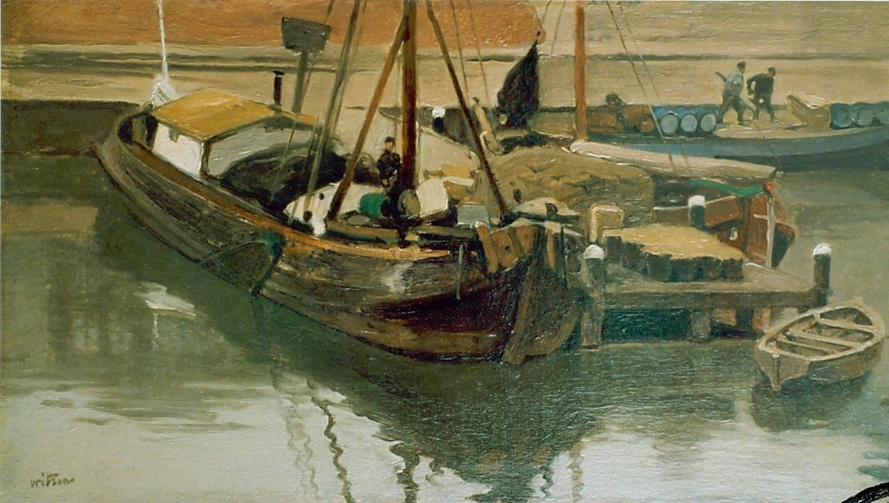 Witsen W.A.  | 'Willem' Arnold Witsen, Moored boats, oil on canvas 25.0 x 45.0 cm, signed l.l.