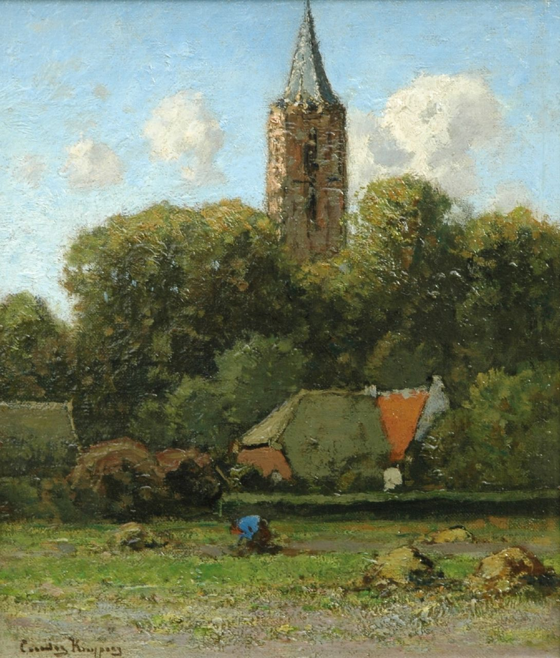 Kuijpers C.  | Cornelis Kuijpers, The church of Soest, oil on panel 33.2 x 28.4 cm, signed l.l.