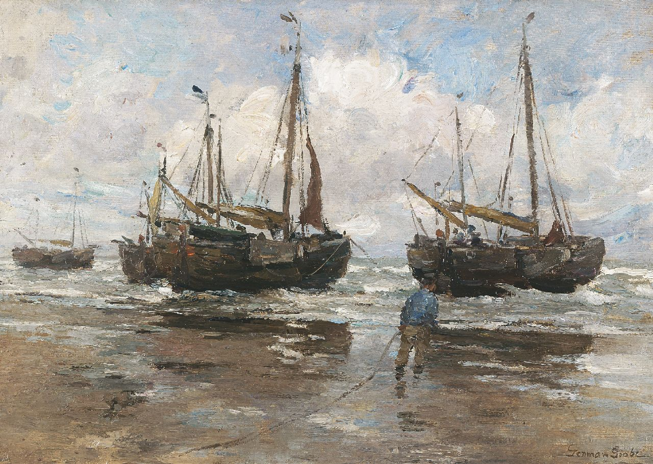 Grobe P.G.  | Philipp 'German' Grobe, Fishing boats on the beach, oil on canvas laid down on board 43.9 x 62.8 cm, signed l.r.
