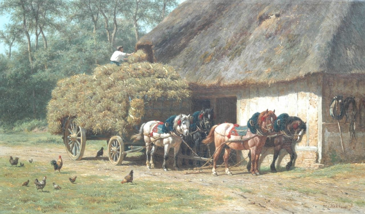 Nakken W.K.  | Willem Karel 'W.C.' Nakken, Stacking the hay, oil on canvas 47.7 x 80.1 cm, signed l.r.