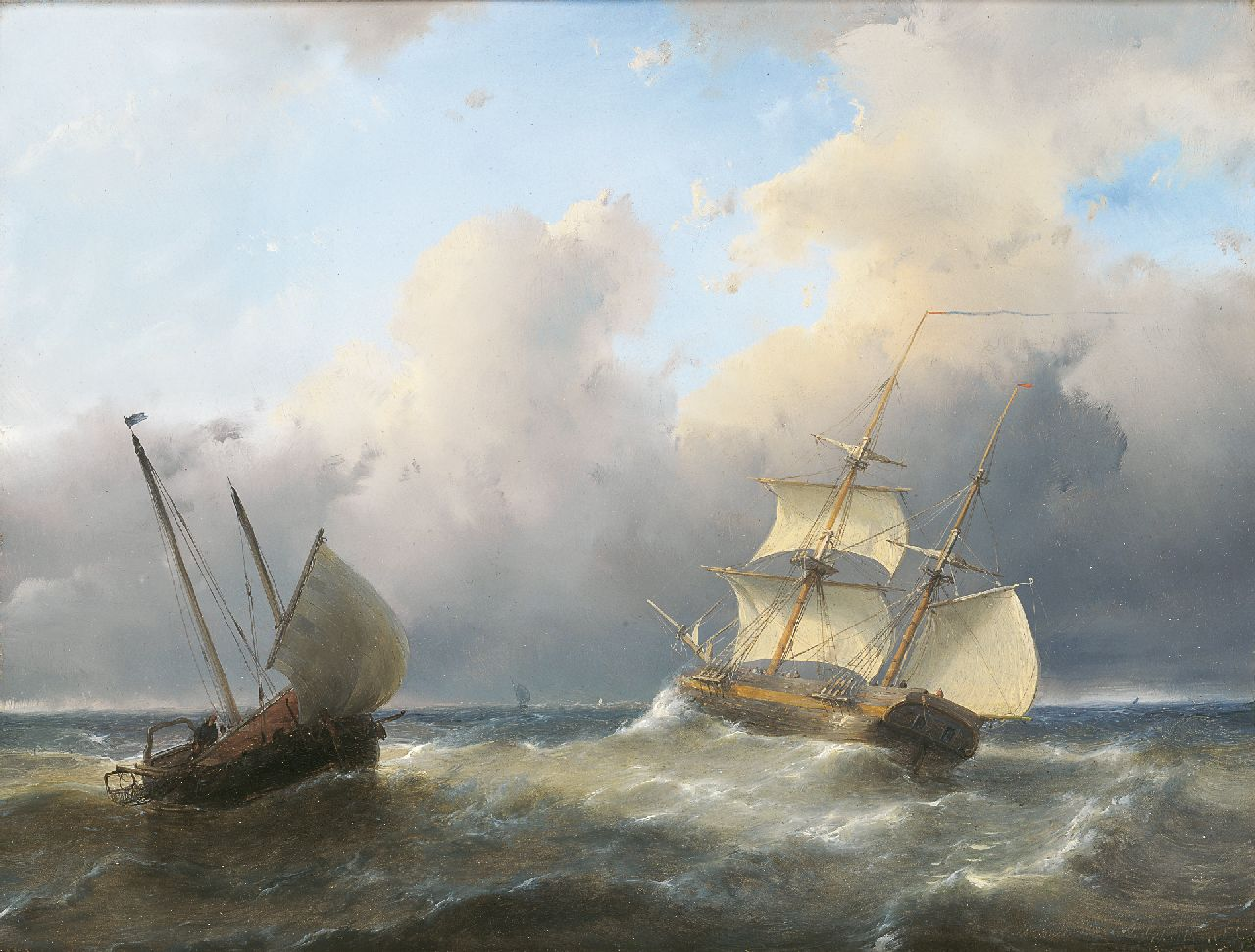 Schelfhout A.  | Andreas Schelfhout, Fishing boats in choppy seas, oil on panel 27.0 x 35.5 cm, signed l.r.