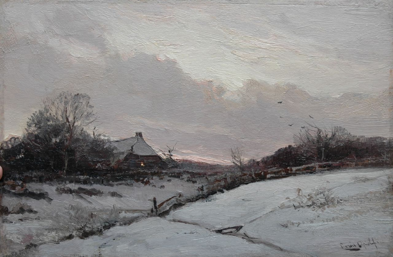 Apol L.F.H.  | Lodewijk Franciscus Hendrik 'Louis' Apol, Farm in the snow at sunset, oil on panel 27.5 x 42.0 cm, signed l.r.