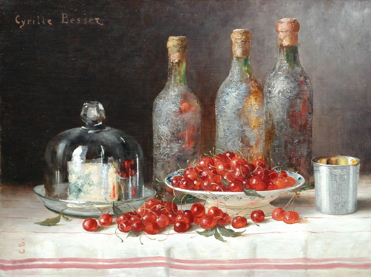 Besset C.  | Cyrille Besset, A still life with bottles, cheese and cherries, oil on canvas 49.4 x 65.0 cm, signed u.l. and l.l. with initials