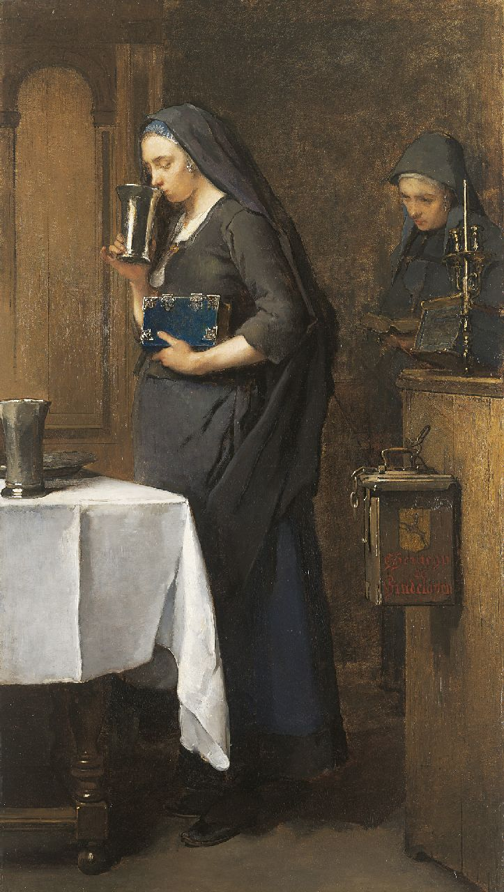 Christoffel Bisschop | A moment of piety, Hinlopen, oil on canvas, 103.4 x 58.8 cm, signed u.l. and painted circa 1880