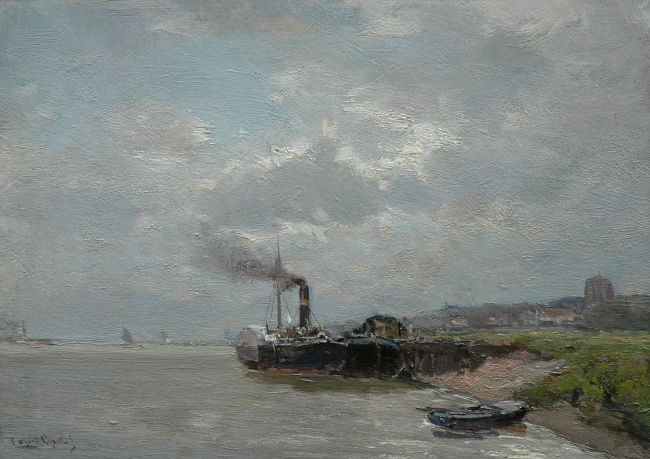 Apol L.F.H.  | Lodewijk Franciscus Hendrik 'Louis' Apol, A paddle steamer near Veere, oil on panel 26.6 x 37.5 cm, signed l.l.
