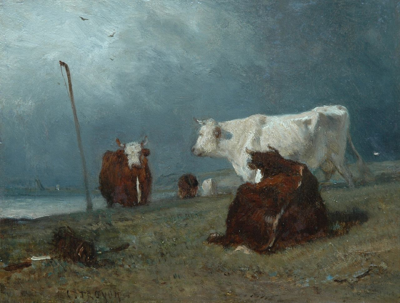 Constant Troyon | Four cows along the waterside, oil on panel, 18.7 x 24.8 cm, signed c.l.