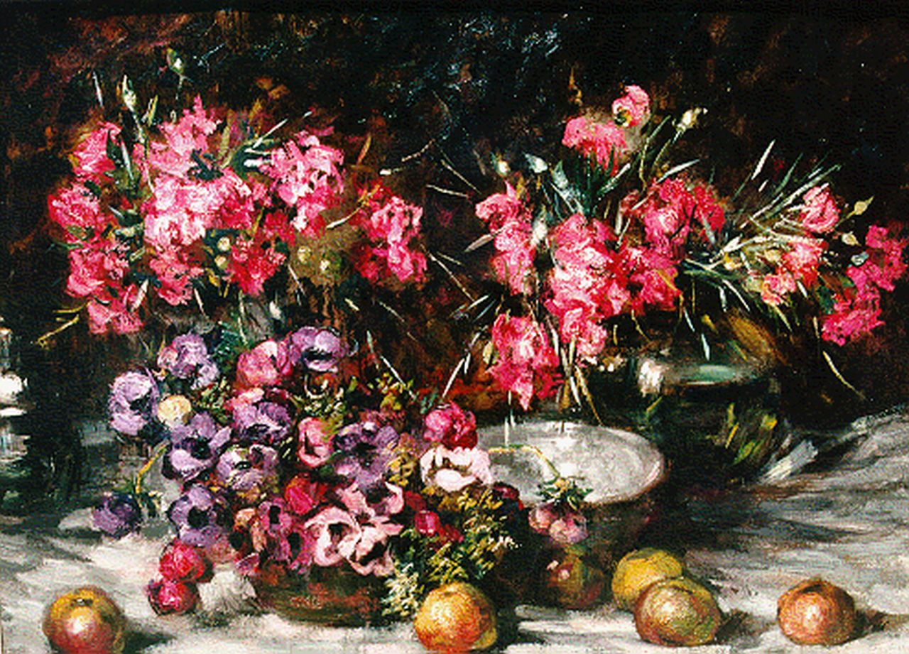 Hermann Courtens | A still life with carnations and anemones, oil on canvas, 79.8 x 104.2 cm, signed l.l.