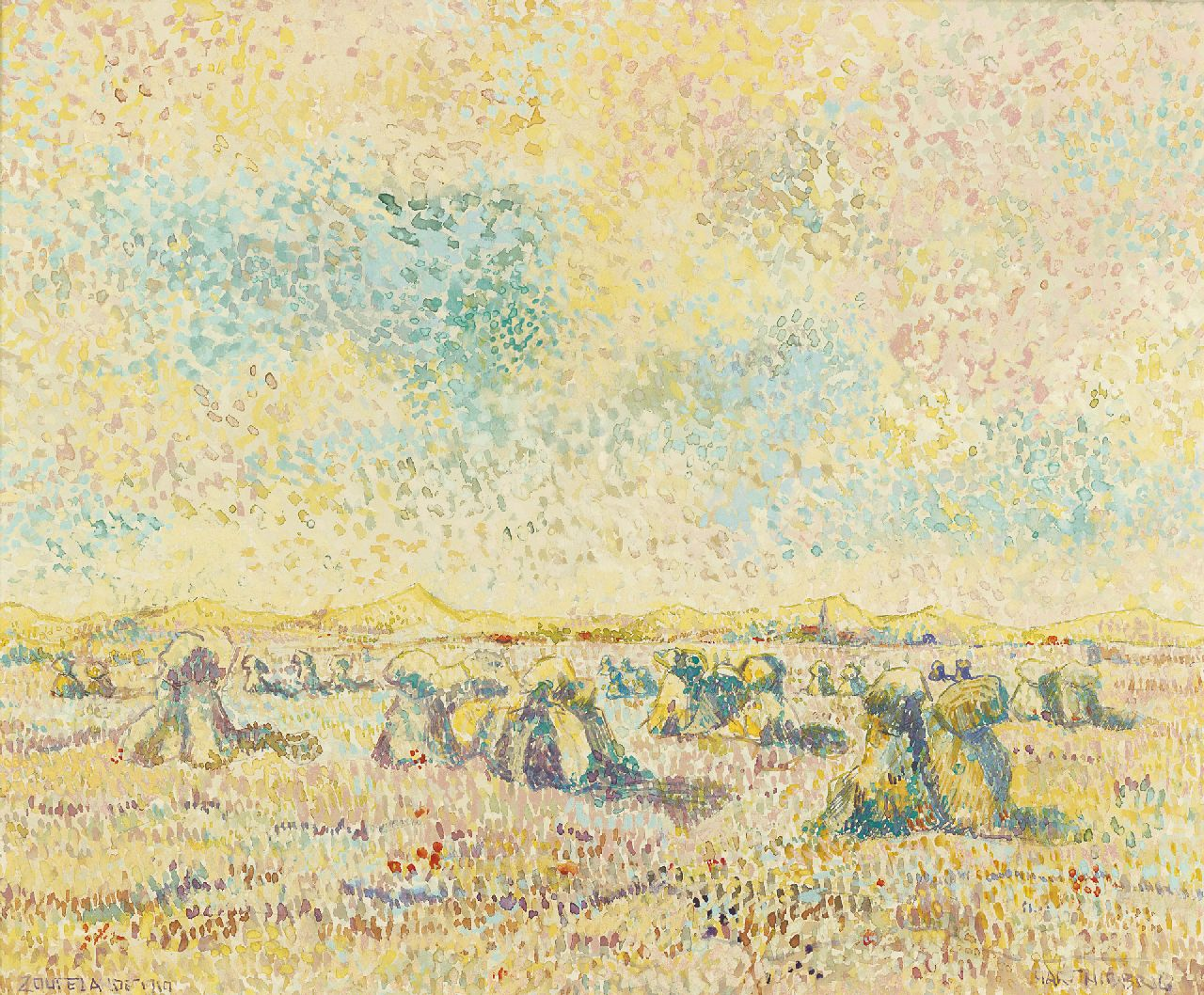 Hart Nibbrig F.  | Ferdinand Hart Nibbrig, Harvest time in the dunes of Zoutelande, watercolour on paper 45.5 x 55.0 cm, signed l.r. and dated 'Zoutelande 1910'