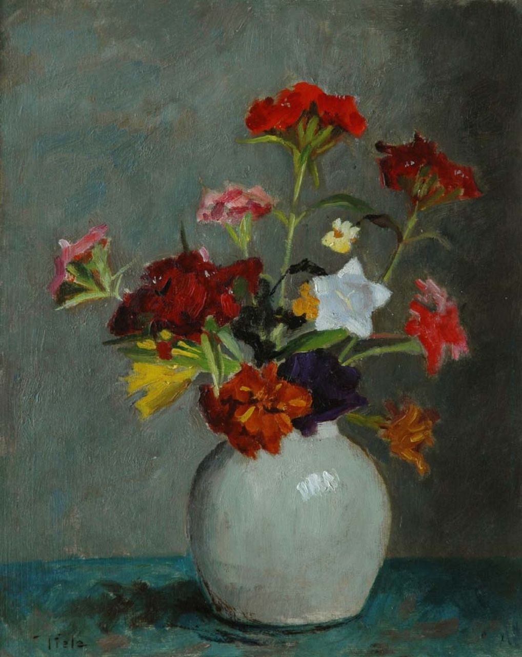 Tiele J.  | 'Jan' Cornelis Tiele, A coulorful bouquet, oil on board 30.0 x 24.0 cm, signed l.l. and painted between 1945-1955
