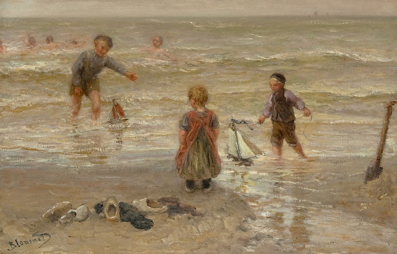 Blommers B.J.  | Bernardus Johannes Blommers | Paintings offered for sale | Playing on the beach, oil on canvas 64.4 x 100.6 cm, signed l.l.