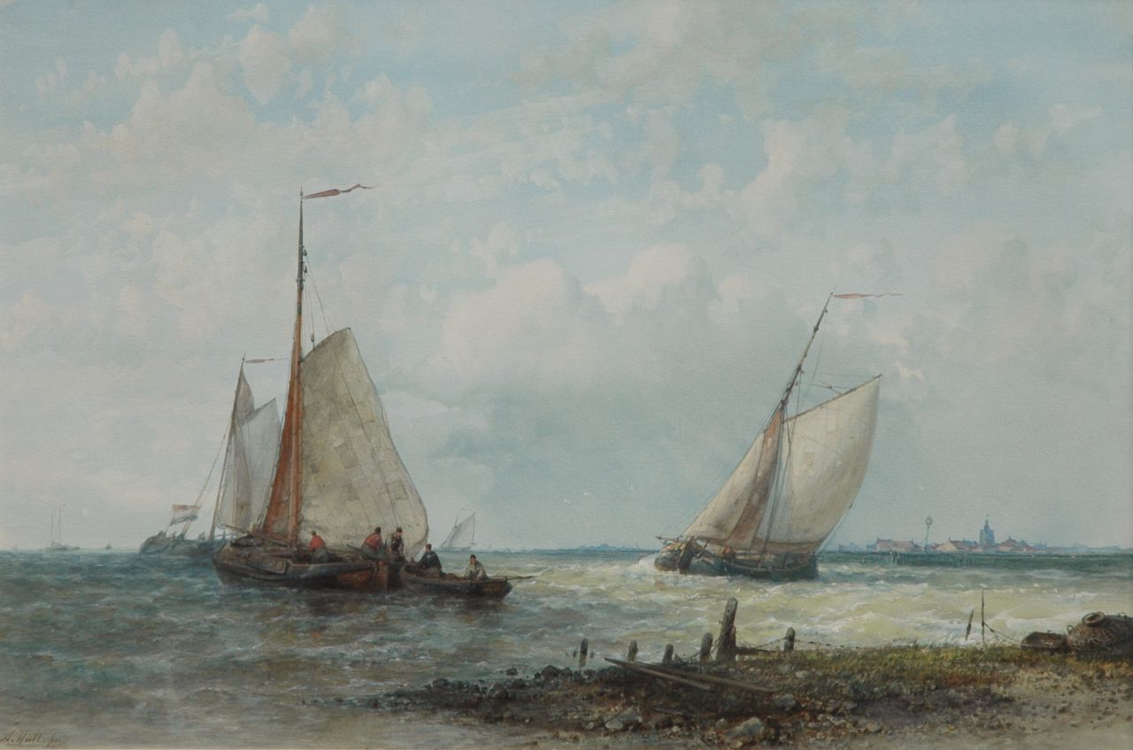 Hulk A.  | Abraham Hulk, Sailing fishing boats on the Zuiderzee, watercolour and gouache on paper 31.0 x 46.5 cm, signed l.l.