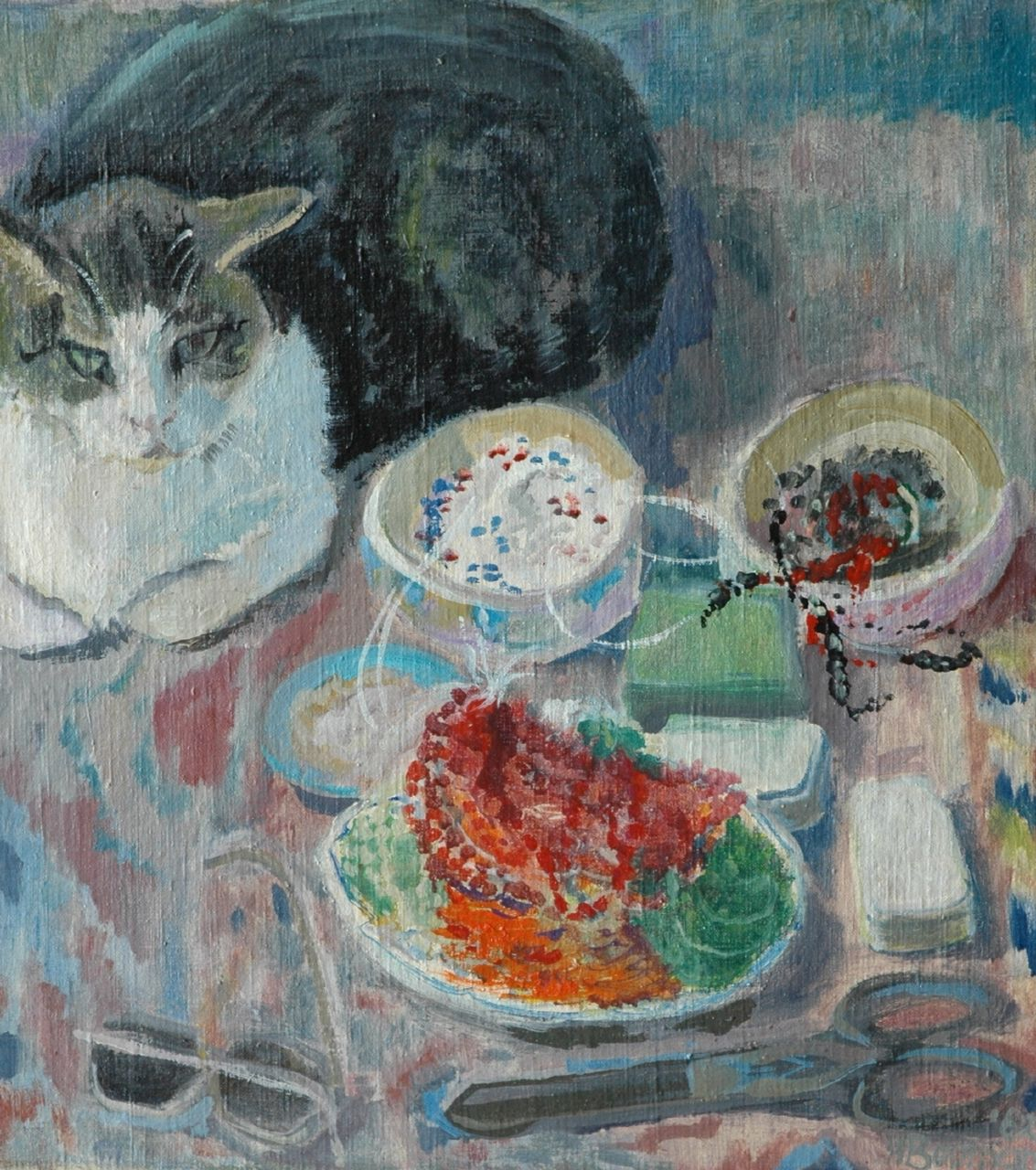 Hannie Bouman | Still life with cat, oil on canvas, 49.9 x 45.0 cm, signed l.r. and dated '62