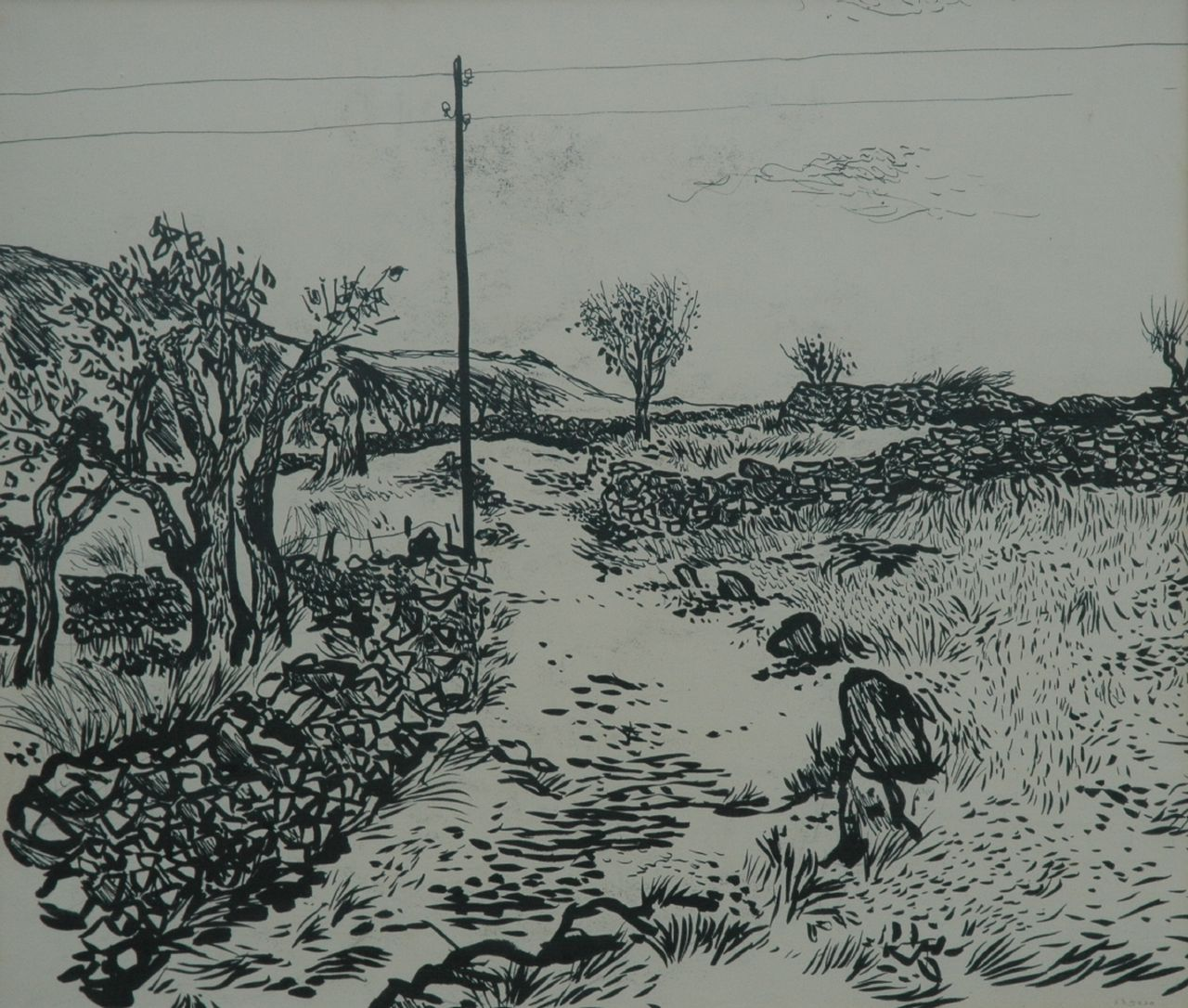 Thijs Overmans | A landscape, Indian ink on paper, 50.3 x 61.0 cm