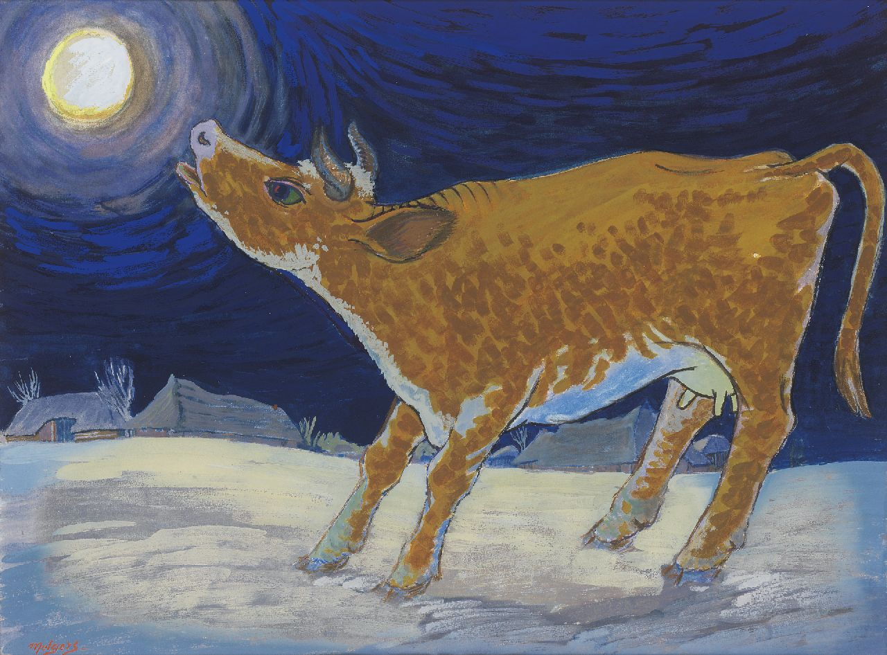 Melgers H.J.  | Hendrik Johan 'Henk' Melgers, The yellow cow, gouache on paper 46.5 x 61.5 cm, signed l.l.