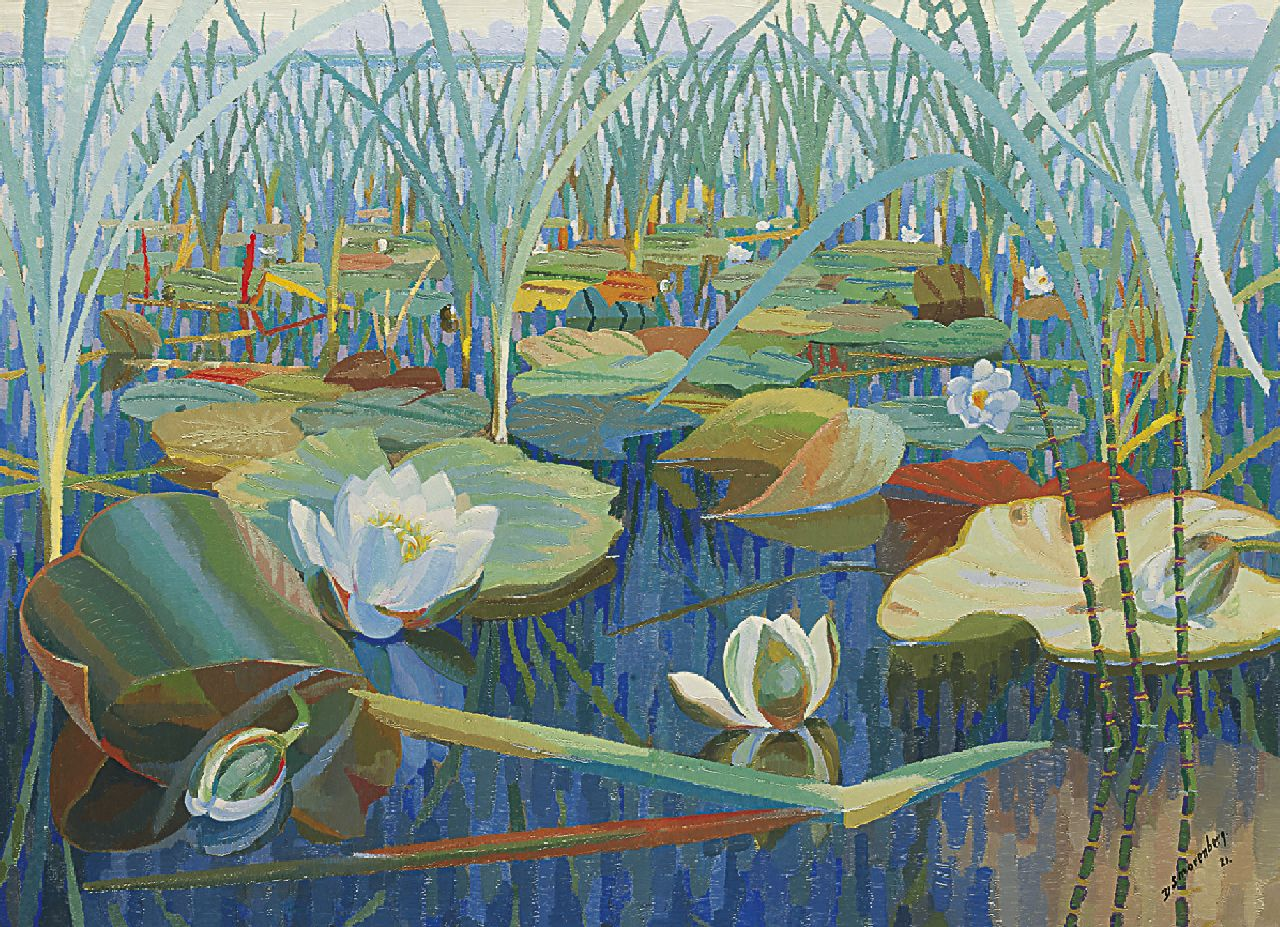 Smorenberg D.  | Dirk Smorenberg, Water lilies, oil on canvas 55.5 x 76.0 cm, signed l.r. and dated '21
