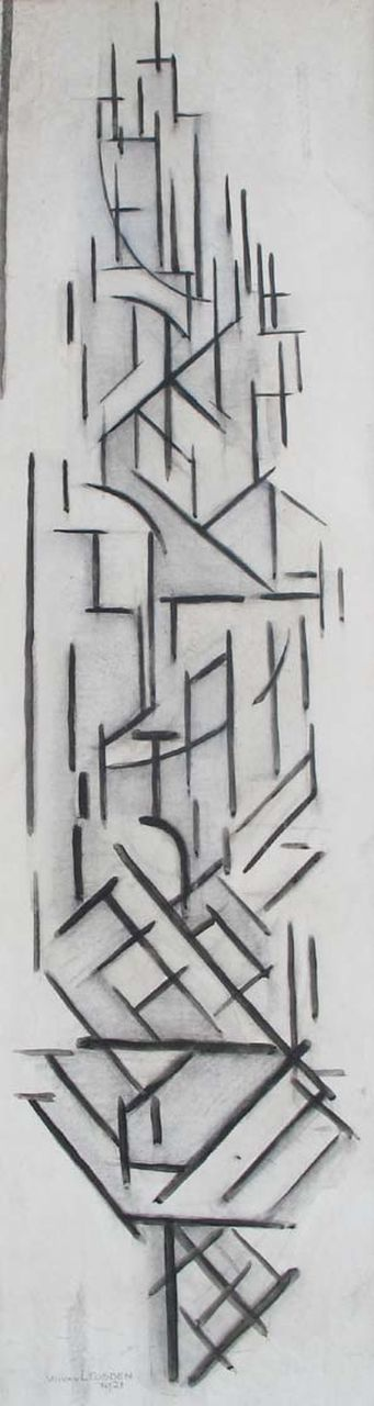 Leusden W. van | Willem van Leusden, Composition (Dom tower), charcoal and chalk on paper 97.0 x 27.5 cm, signed l.l. and dated 1921
