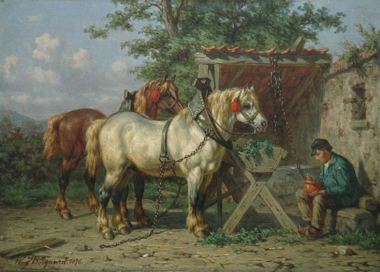 Boogaard W.J.  | Willem Johan Boogaard, A well deserved rest, oil on panel 19.5 x 27.3 cm, signed l.l. and dated 1876