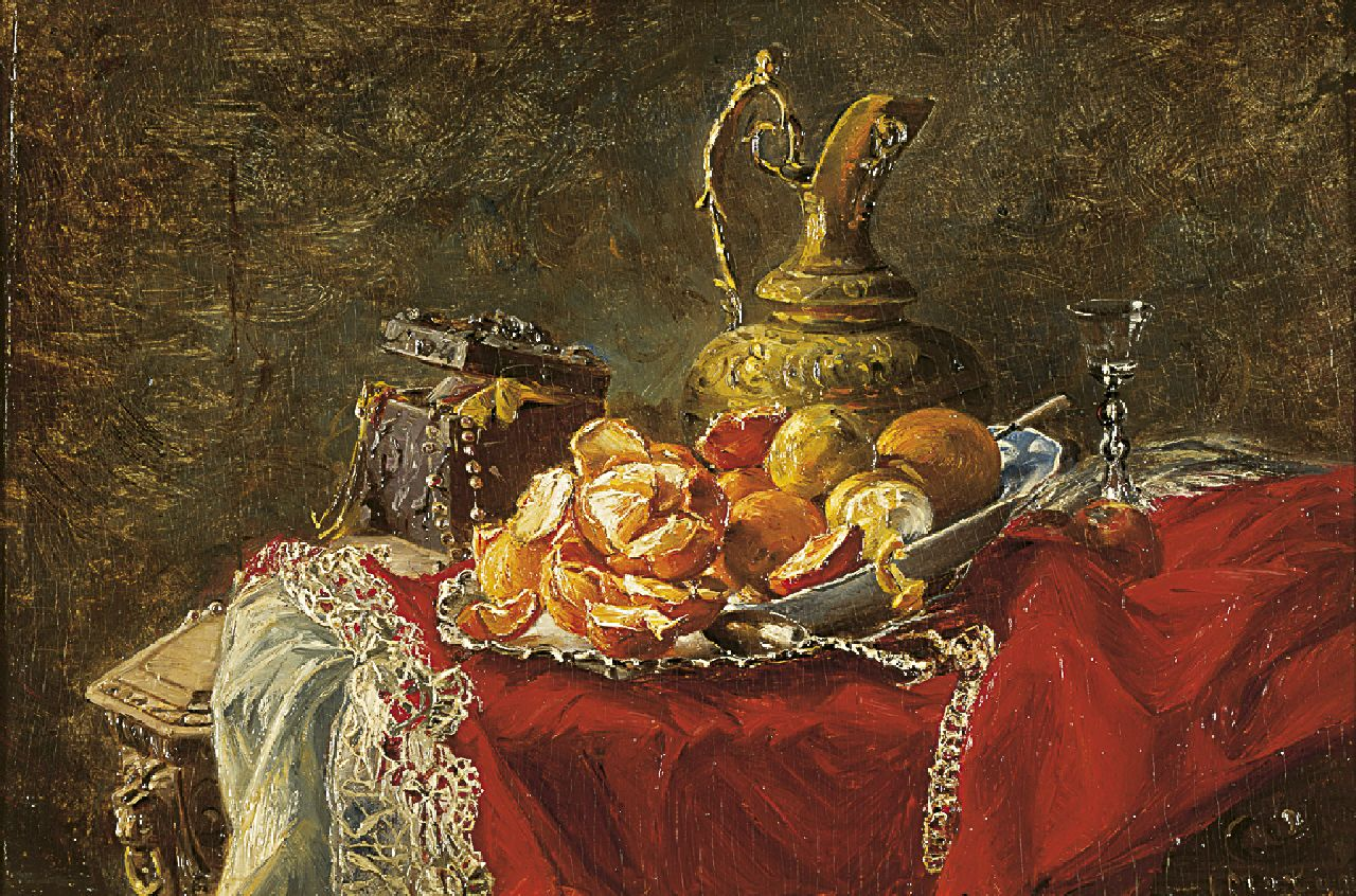 Ida Molijn | A still life with a jug and citrus fruit, oil on panel, 19.8 x 29.6 cm, signed l.r.