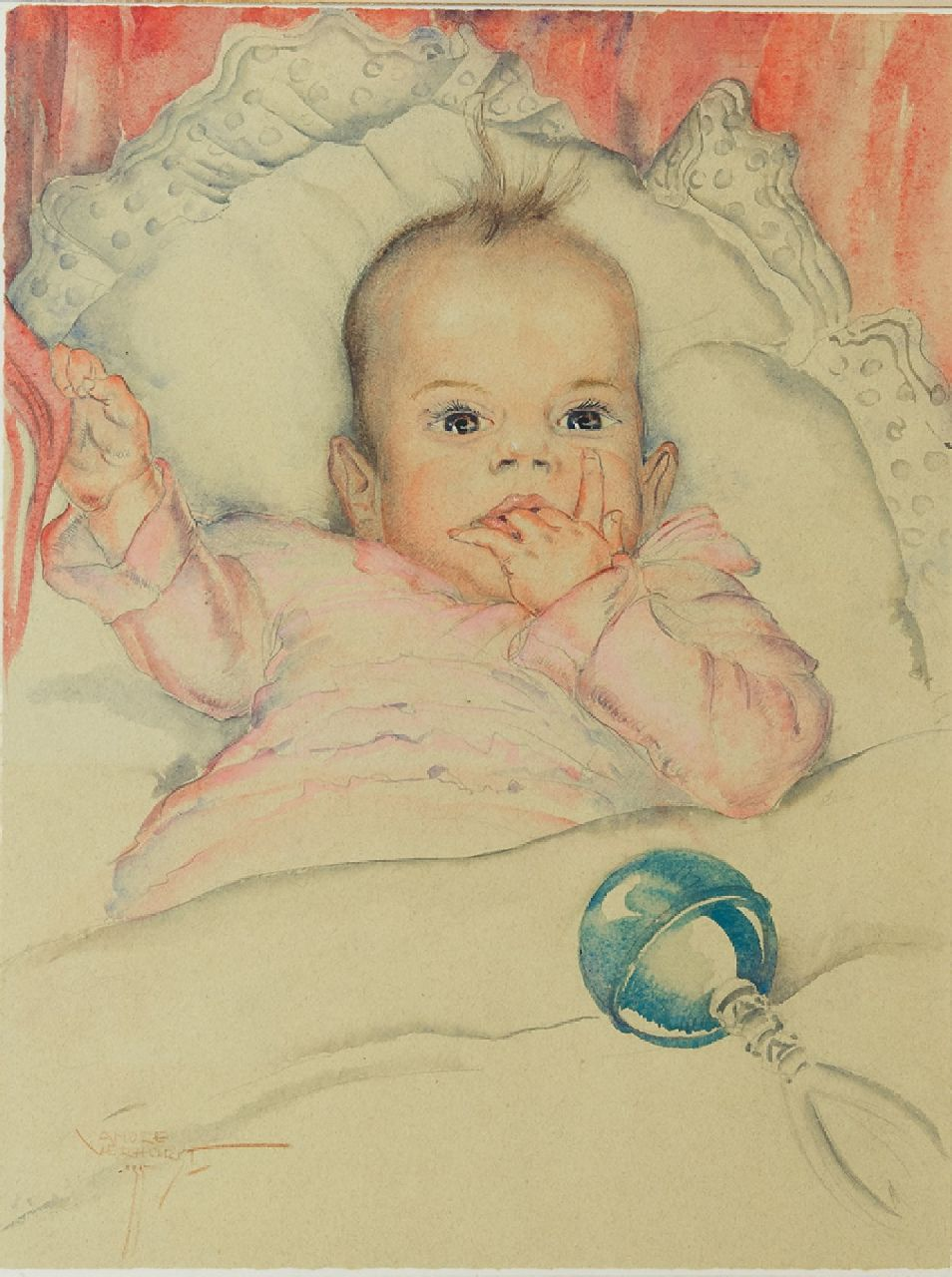 André Verhorst | A baby's portrait of Emmie Reijnders, pencil and watercolour on paper, 44.5 x 33.5 cm, signed l.l. and dated '35