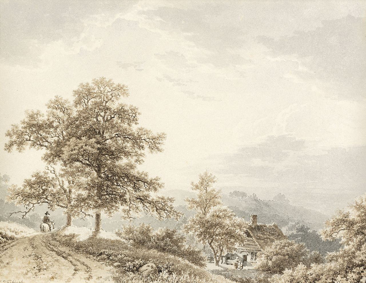 Koekkoek B.C.  | Barend Cornelis Koekkoek | Watercolours and other works on paper offered for sale | Traveller in a hilly landscape, sepia and washed ink on paper 21.2 x 27.4 cm, signed l.l. and painted ca. 1833-1840